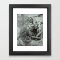 Monkey Children Framed Art Print