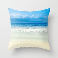 Beach Blue Kapalua Golden Sand Maui Hawaii Throw Pillow
