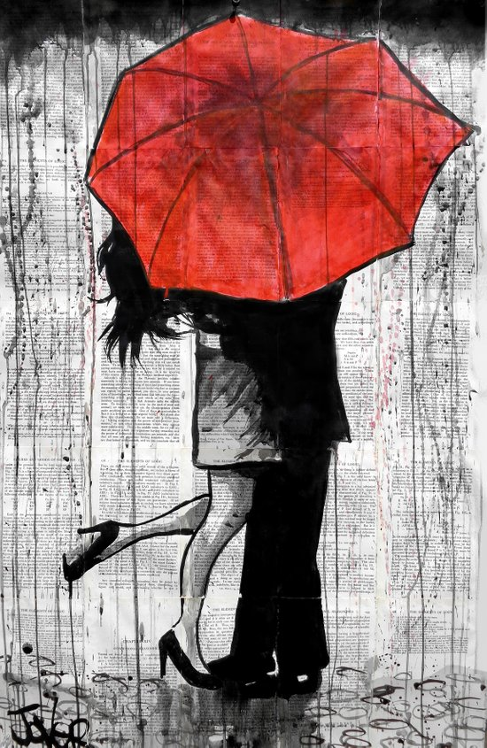 red umbrella rendezvous Canvas Print