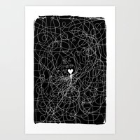 The lines of Love - Black version. Art Print
