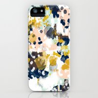 iPhone 5s & iPhone 5 Cases featuring Sloane - Abstract painting in modern fresh colors navy, mint, blush, cream, white, and gold by CharlotteWinter