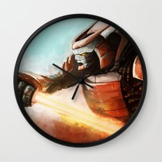Cyborg samurai Wall Clock