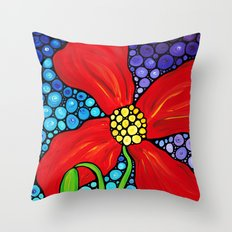 Lady In Red - Big bold beautiful Red poppy by Labor Of Love artist Sharon Cummings. Throw Pillow