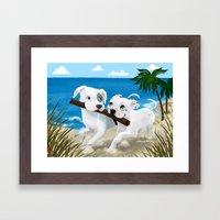 Pit Bull Sharing Framed Art Print