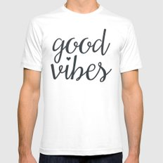 good vibes  White Mens Fitted Tee SMALL