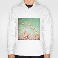 Ferris Wheel on Blue Textured Sky  Hoody