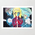 Three Blue Jazz Sisters Art Print