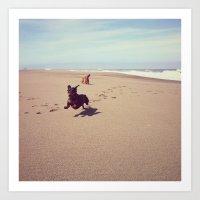 Two Dachshunds on Beach Art Print