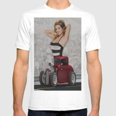 Pin Up Girl & Hot Rod White SMALL Mens Fitted Tee
