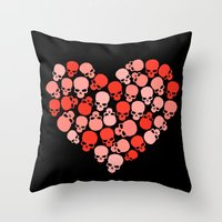 SKULL HEART FOR VALENTINE'S DAY Throw Pillow