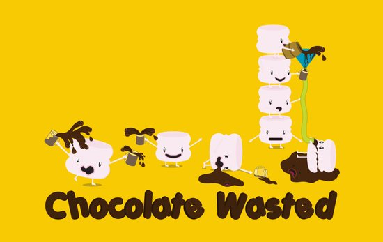Chocolate Wasted (yellow) Art Print