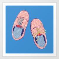 Polka dot shoes on blue Art Print