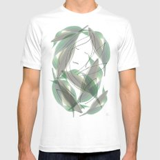 Leaves SMALL White Mens Fitted Tee