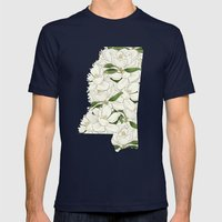 Mississippi in Flowers Mens Fitted Tee Navy SMALL