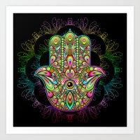 Hamsa Hand Amulet Psyche… Art Print