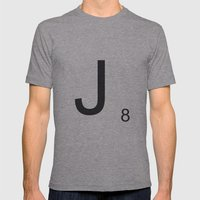Scrabble J Mens Fitted Tee Athletic Grey SMALL