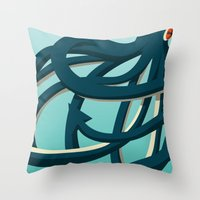 Octopus blue Throw Pillow