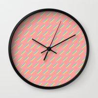 80's Pastel Stripes on Pink  /// www.pencilmeinstationery.com Wall Clock