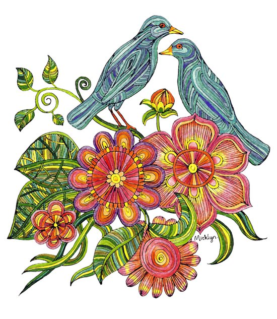 Fly Away With Me - Hand drawn illustration with birds, flowers and leaves. Art Print
