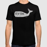 Antique Whale - New York Mens Fitted Tee Black SMALL