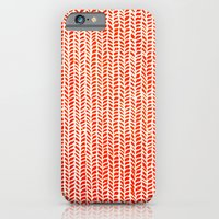orange iPhone & iPod Cases featuring Stockinette Orange by Elisa Sandoval