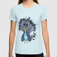 Peacock  Womens Fitted Tee Light Blue SMALL