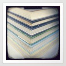 Blue chevron books Art Print