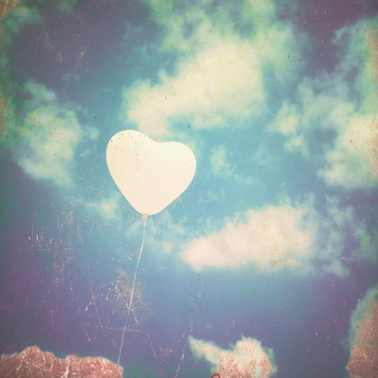 Stormy Love , Heart Baloon in sky  Art Print