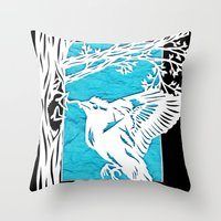 Goldfinch Mother Throw Pillow