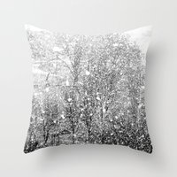 Snow in early fall(3) Throw Pillow