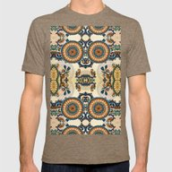 Indian Feather Pattern Mens Fitted Tee Tri-Coffee SMALL
