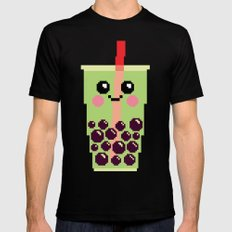 Happy Pixel Bubble Tea Mens Fitted Tee Black SMALL
