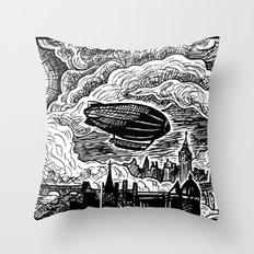 Steampunk Skyline Throw Pillow
