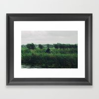 WIND BIKE WATER RAIN Framed Art Print