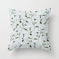 Throw Pillow featuring Peonies Winter Mist by Lisa Argyropoulos