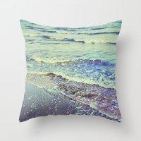 Retro Beach. Summer Wave… Throw Pillow