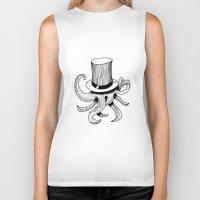 Squid is lost in hat Biker Tank