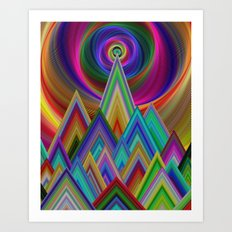Summer Night at the Mountains Art Print