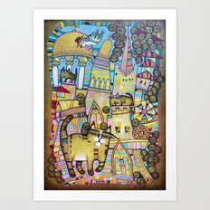 THE CITY OF 100 CATS Art Print