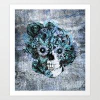 Blue grunge ohm skull Art Print