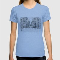 Fog And Rain: Cityscape … Womens Fitted Tee Athletic Blue SMALL