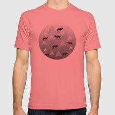Deer In The Fog Mens Fitted Tee Pomegranate SMALL