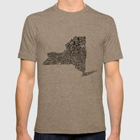 Typographic New York Mens Fitted Tee Tri-Coffee SMALL