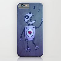 iPhone & iPod Case featuring Happy Cartoon Singing Robot by Boriana Giormova