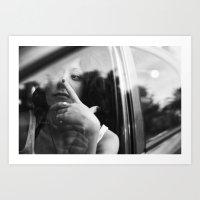 portrait through the car window Art Print