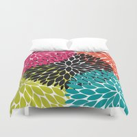 Big Tropical Flowers Duvet Cover