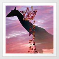 Goodnight Giraffes Art Print