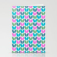 Tulip Knit (Teal Pink Blue Green) Stationery Cards