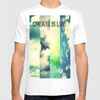 CREATE IS LIFE Mens Fitted Tee White SMALL
