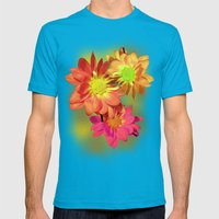Pretty holiday orange daisy flower. Floral nature garden photography. Mens Fitted Tee Teal SMALL